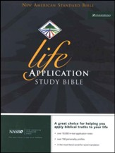 NAS Life Application Study Bible,  Genuine leather, Black Thumb-Indexed - Imperfectly Imprinted Bibles