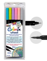 MARVY, LePlume II Double-Ended  Watercolor Markers, Pastel Colors, Pack of 6