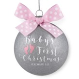 Baby's First Christmas, Pink Glass Ball Ornament