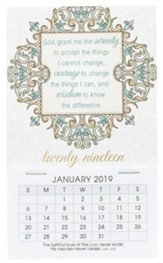 2019 Serenity Prayer, Mini Magnetic Calendar