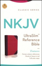 NKJV UltraSlim Reference Bible, LeatherSoft Raspberry/Plum - Slightly Imperfect