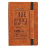 Whatever Is True Dot Journal, Tan with Elastic Closure