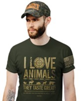 I Love Animals Shirt, City Green, XX-Large