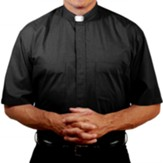 Men's Short Sleeve Clergy Shirt with Tab Collar: Black, Size 14.5