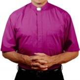 Men's Short Sleeve Clergy Shirt with Tab Collar: Church Purple, Size 17.5