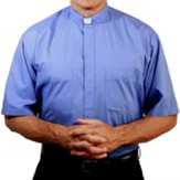 Men's Short Sleeve Clergy Shirt with Tab Collar: Medium Blue, Size 20
