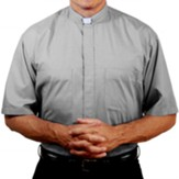 Men's Short Sleeve Clergy Shirt with Tab Collar: Gray, Size 17