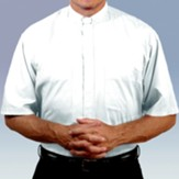 Men's Short Sleeve Clergy Shirt with Tab Collar: White, Size 15