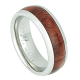 Proverbs 20:7, Men's Stainless Steel Ring with Wood Accent, Size 12