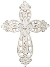 Medallion Resin Wall Cross, White