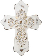 Ornate Resin Wall Cross, White