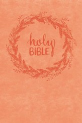 NKJV Giant Print Reference Bible -- Leathersoft Coral Design, Red Letter, Custom