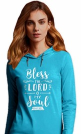 Bless The Lord Hooded Shirt, Blue, Small