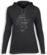His Grace is Enough Hooded Shirt, Gray, X-Large
