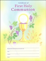 First Communion Certificates (Chalice, Grapes, & Wheat), Pack of 25