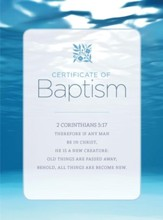 Water and Clouds Folded Baptism Certificates, Pack of 6
