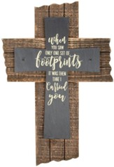 Footprints Slate Wall Cross