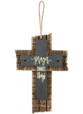Prayer Changes Things Mini Slate Cross