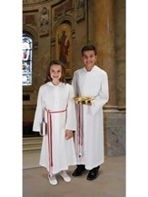 Monastic Alb, 65/35 Poly/Cotton, White, Back length 56  inches