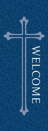 Welcome X-Stand Banner: Blue (23 inch x 63 inch)