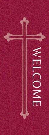 Welcome X-Stand Banner: Red (23 inch x 63 inch)