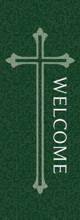 Welcome X-Stand Banner: Green (23 inch x 63 inch)