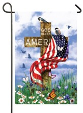 God Bless America Cross Flag, Small