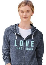 Love Like Jesus Zip Hoodie, Grey, Small