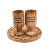 Olive Wood Plate and Cup Set