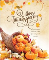Happy Thanksgiving (Psalm 107:1, KJV) Large Bulletins, 100
