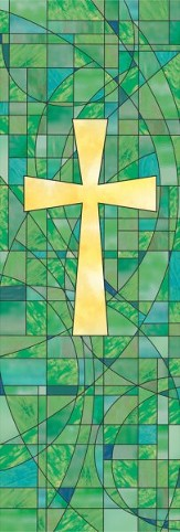 Stained Glass Cross Banner, 2'x6'