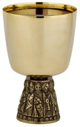 Polished Brass Last Supper Chalice & Paten Set