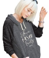 Love Never Fails Hooded Shirt, Gray, Large