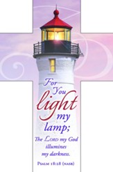 For You Light My Lamp (Psalms 18:28, NASB) Cross Bookmarks, 25