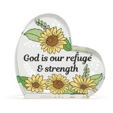 God Is Our Refuge and Strength Glass Heart Figurine