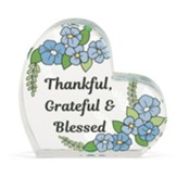 Thankful, Grateful and Blessed Glass Heart Figurine
