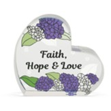 Faith, Hope and Love Glass Heart Figurine