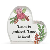 Love Is Patient, Love Is Kind Glass Heart Figurine