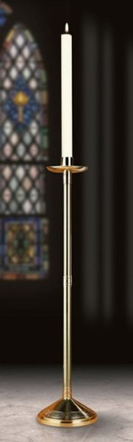 Polished Brass Paschal Candlestick (44 inches x 12 inches with 3 inch & 2 inch socket)
