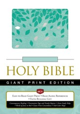 NKJV Giant Print Reference Holy  Bible Leathersoft Green