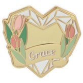 Grace, Heart, Lapel Pin