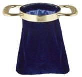 Blue Offering Bag with Gold Handles, Set of 2