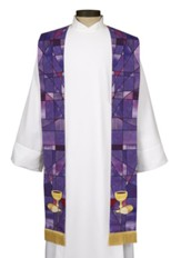 Stained Glass Overlay Stole, Purple