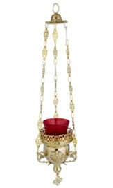 Ornate Hanging Sanctuary Lamp with Glass, 13 Long