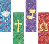 Sacred Symbols Stained Glass X-Stand Banners, Set of 4