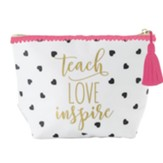 Teach Love Inspire Zipper Pouch, White and Black Heart Polka Dots