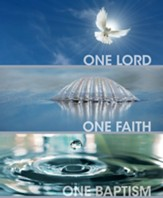 One Lord One Faith One Baptism Dove, Water, Shell, Large Bulletins, 100