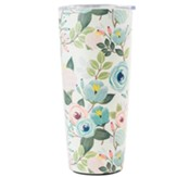 Peach Floral Stainless Steel Tumbler, Large