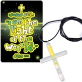 Jesus Is the Light Of the World, Cross, Glow-In-the-Dark Necklace, Pack of 12