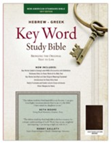 NASB Hebrew-Greek Key Word Study Bible--genuine goatskin leather, brown